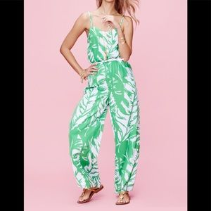 NWT Lilly Pulitzer palm Satin Jumpsuit